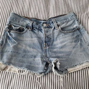 LEVIS Grungy Distressed Cut Off Jean Shorts